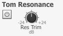 タム・レゾナンスとは:キックやスネアを叩いた時に起こるタム本体の共振をオン・オフできる機能。オンにした場合には、キックやスネアを叩いたときにタムのオンマイクフェーダーに共振音が付加される。
